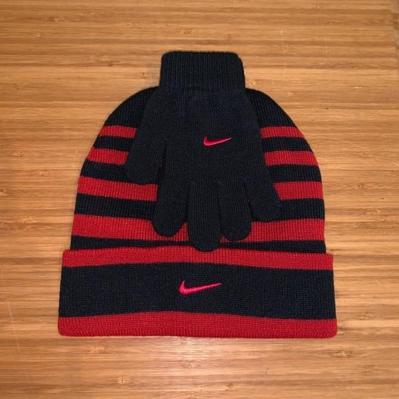 2d8bcdd0e New Nike swoosh red black beanie hat & gloves set! NWT